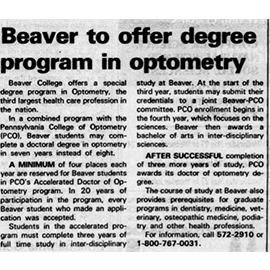 Flashback Friday: Beaver to Offer Degree in Optometry