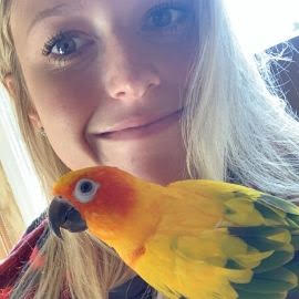 Chelsea Iaconianni with her bird Tiki