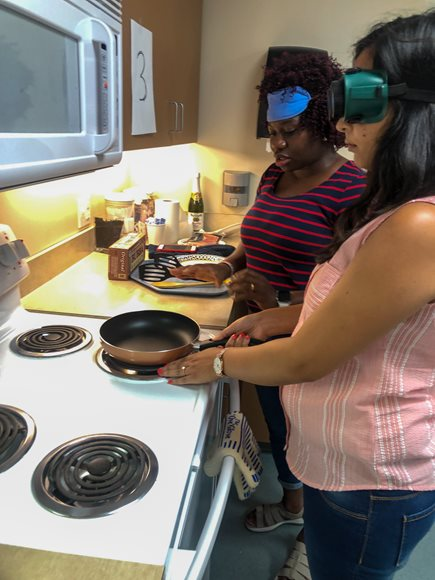BLVS Students Cooking with Blindfolds